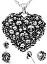 Captivated Souls Heart Skull Necklace & Earrings Set