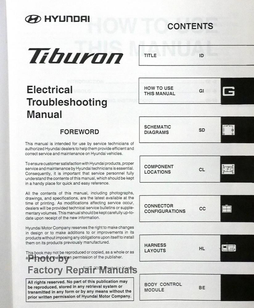 2003 hyundai tiburon electrical troubleshooting manual original etm rh factoryrepairmanuals com 2001 Hyundai Tiburon Owner's Manual Hyundai Owners Manual PDF