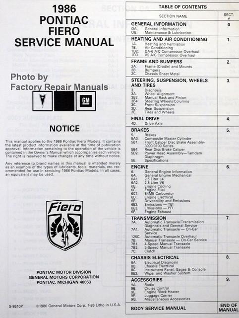 1986 pontiac fiero factory service manual original shop repair rh factoryrepairmanuals com pontiac service manual pdf service manual for 2009 pontiac vibe