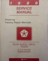 1986 Service Manual Dodge Rear Wheel Drive Truck D & W Ramcharger