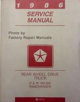 1986 Service Manual Dodge Rear Wheel Drive Truck D & W Ramcharger