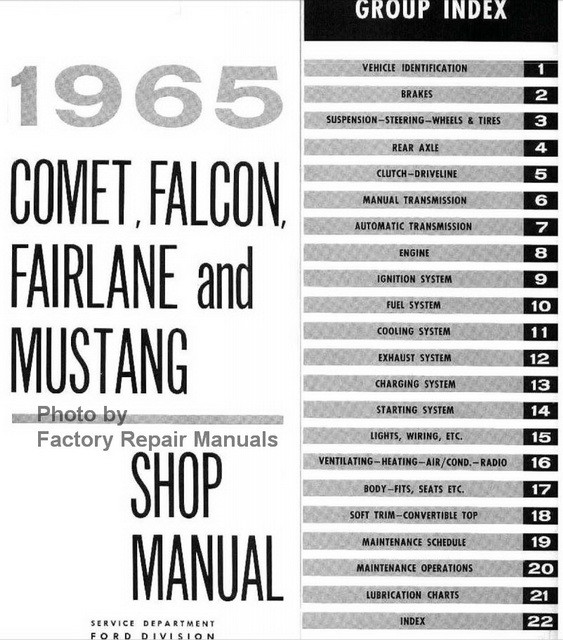 1965 Comet, Falcon, Fairlane and Mustang Shop Manual Table of Contents