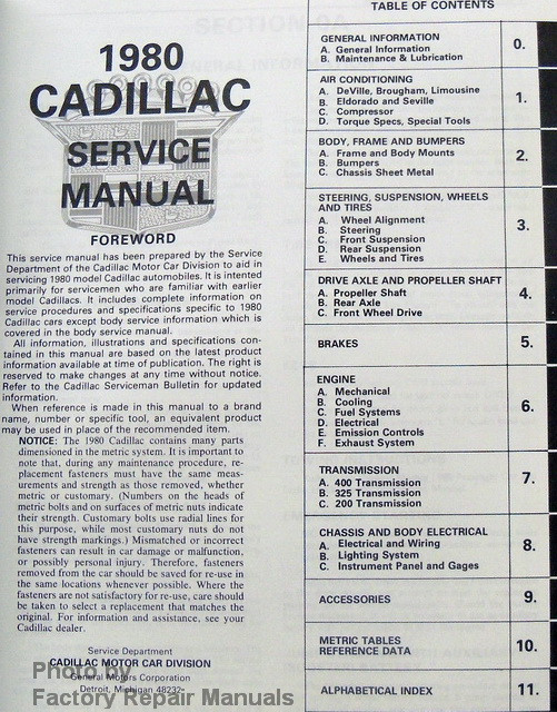 cadillac eldorado repair manual