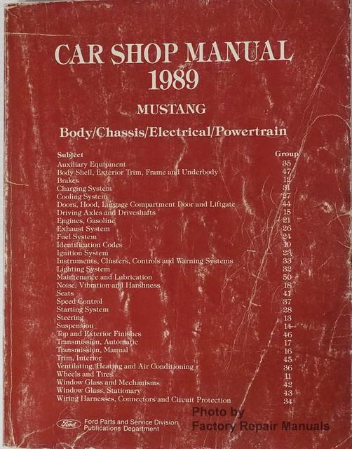 1989 ford mustang factory service manual original shop repair rh factoryrepairmanuals com 1999 Mustang 1994 Mustang