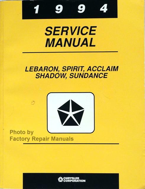 1994 lebaron spirit shadow acclaim sundance factory service manual rh factoryrepairmanuals com 1987 Chrysler LeBaron 1995 Chrysler LeBaron