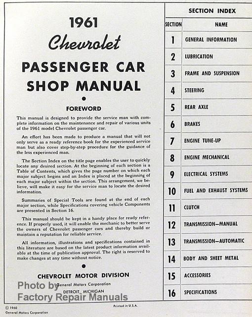 1961 Chevy Car Bel Air, Biscayne, Corvette, Impala Shop