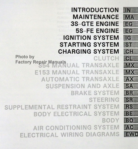 1994 toyota mr2 factory service manual set original shop repair 1987 toyota mr2 engine 1993 toyota mr2 repair manual table of contents 1