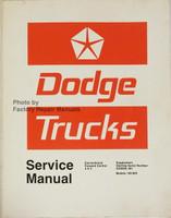 Dodge Truck Models 100-800 Conventional - 4x4 - Forward Control Service Manual Supplement