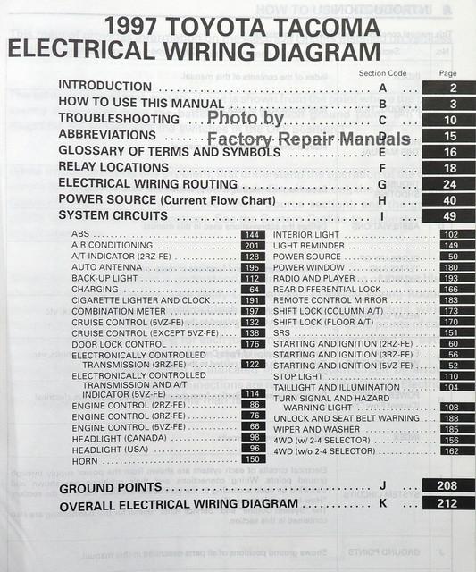 1997 toyota tacoma electrical wiring diagrams original factory rh factoryrepairmanuals com  1997 toyota tacoma electrical wiring diagram