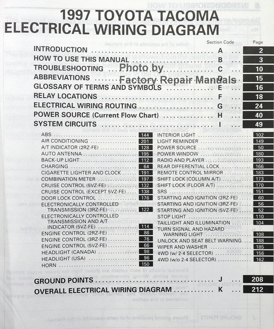 1997 Toyota Tacoma Electrical Wiring Diagrams Original - Factory ...