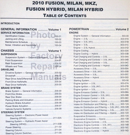 2010 fusion milan mkz gas and hybrid factory shop service manual rh factoryrepairmanuals com 2010 ford fusion hybrid owners manual 2010 Ford Fusion Hybrid Problems