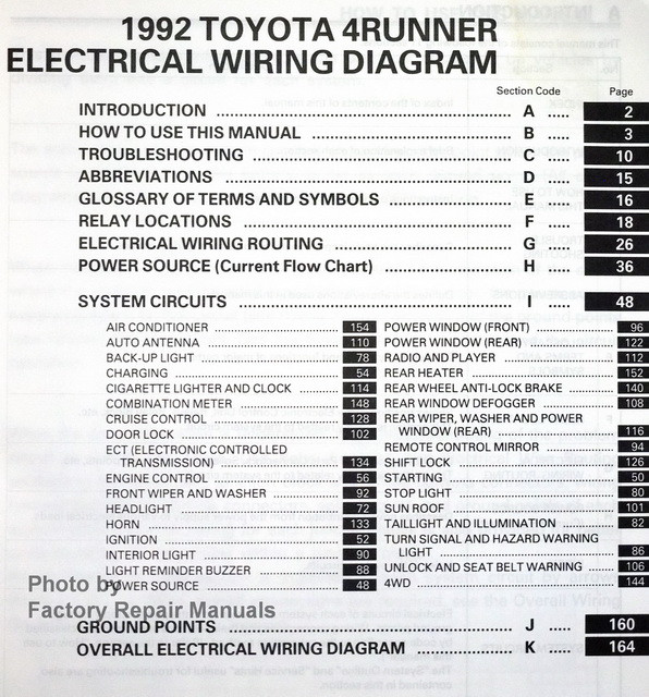 1992 Toyota 4runner Electrical Wiring Diagrams Original