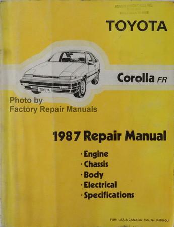1987 toyota corolla rwd factory service manual original shop repair rh factoryrepairmanuals com Toyota Corolla Problems Toyota Corolla Maintenance