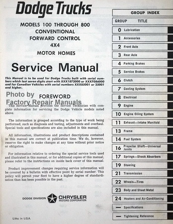 1969 1970 1971 Conventional Cab, Low Cab Forward, Tilt Cabs Dodge Trucks Models 100 through 1000 Service Manual Table of Contents