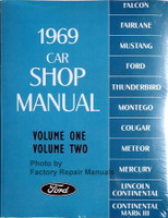 1969 Ford Lincoln Mercury Car Shop Manual Volume 1, 2, 3, 4, 5