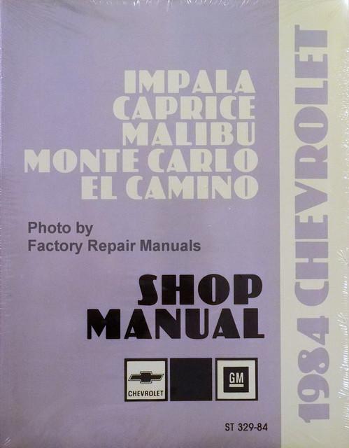 1984 chevy impala caprice monte carlo el camino factory shop manual rh factoryrepairmanuals com 1986 chevy el camino owners manual 2017 Chevy El Camino