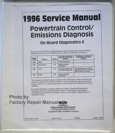 1996 ford aspire escort probe tracer powertrain control rh factoryrepairmanuals com 1996 Ford Focus 1996 Ford Tempo