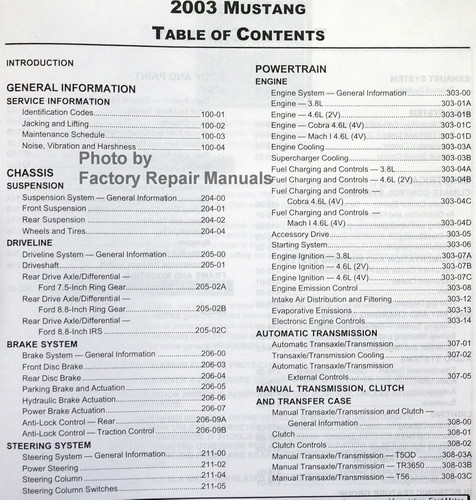 2003 Ford Mustang Factory Service Manual Original Shop