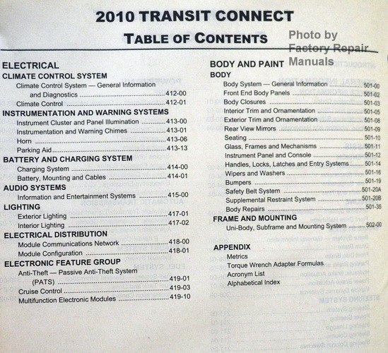 2010 ford transit connect factory service manual original shop rh factoryrepairmanuals com 2012 Transit Connect transit connect workshop manual pdf