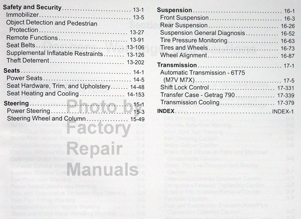 2017 GM Buick Enclave Chevrolet Traverse GMC Acadia Limited Service Manual Table of Contents 2