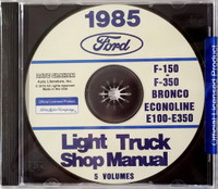 1985 Ford F-150 to F-350 Bronco Econoline E-100 to E-350 Light Truck Shop Manual 5 Volumes
