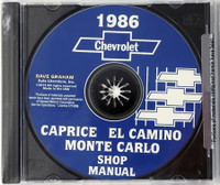 1986 Chevrolet Caprice Monte Carlo El Camino Shop Manual