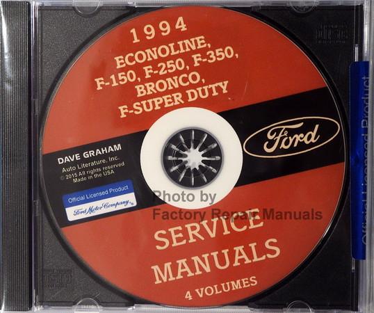 Ford Econoline, F-150, F-250, F-350, Bronco, F-Super Duty 1994 Service Manual CD