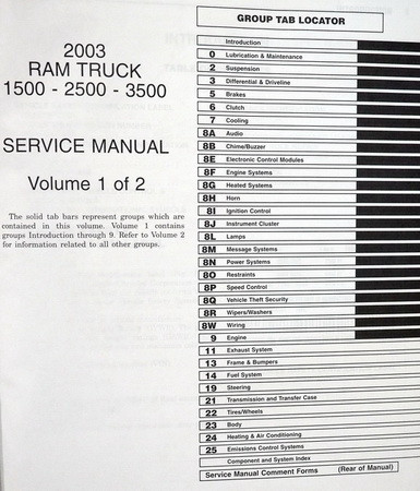2003 Service Manual DR Ram Truck 1500-2500-3500 Volume 1 Table of Contents