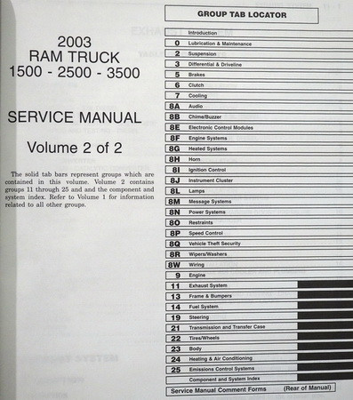 2003 Service Manual DR Ram Truck 1500-2500-3500 Volume 2 Table of Contents