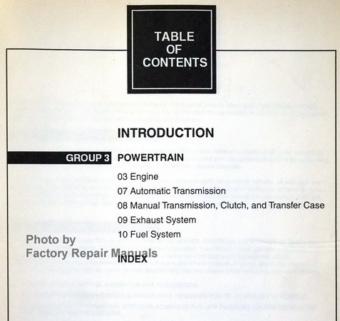 2000 Ford F-150 Workshop Manual Table of Contents 2