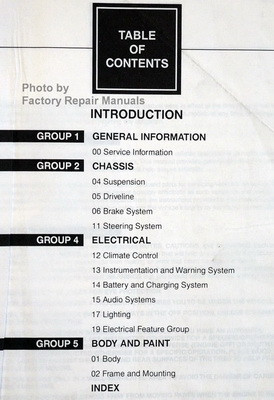 1998 Ford F150, F250 Service Manual Table of Contents 1
