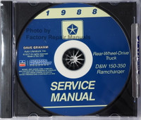 1988 Service Manual Dodge Truck D & W 150-350, Ramcharger CD
