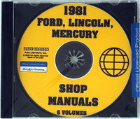 1981 Ford Mercury Lincoln Shop Service Manuals 6 Volumes on CD