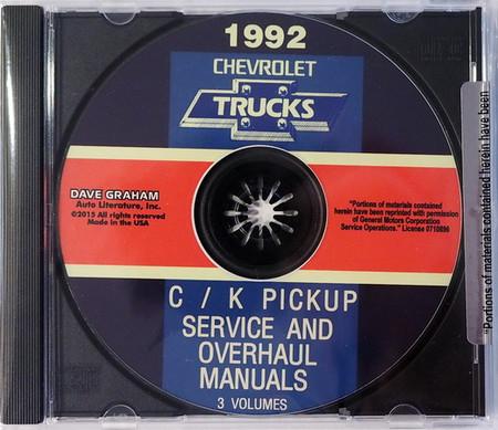 1992 Chevrolet Trucks C/K Pickup Service Manual & Unit Repair Manual  CD