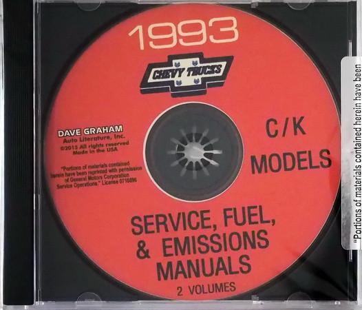 Chevrolet 1993 C/K Models Service, Fuel & Emissions Manuals