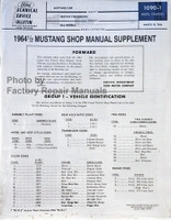 1964 1/2 Ford Mustang Factory Shop Manual Supplement