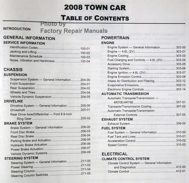 2008 lincoln town car factory service manual original ford. Black Bedroom Furniture Sets. Home Design Ideas