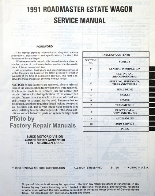 service manual  1991 buick roadmaster service and repair