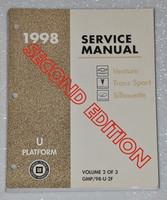 1998 Olds Silhouette Chevy Venture Pontiac Trans Sport Mini-Van Service Manual Vol 2