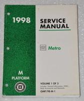 1998 CHEVROLET GEO METRO LSi Factory Shop Service Manual Vol 1 Body & Electrical