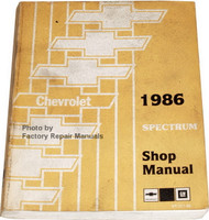 Chevrolet 1986 Spectrum Shop Manual