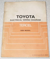1984 Toyota Tercel Electrical Wiring Diagrams Original Factory Manual