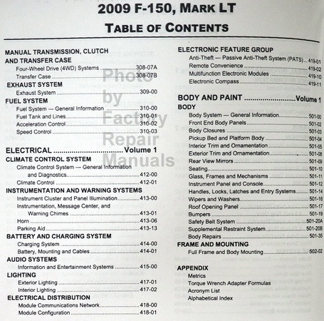2009 ford f150 factory service manual set shop repair new factory rh factoryrepairmanuals com 2009 f 150 workshop manual Ford F-150 Maintenance Manual