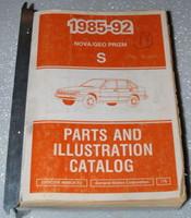 1985 1992 Chevy Nova GEO Spectrum Parts and Illustration Catalog Manual