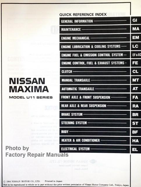 1985 nissan maxima factory service manual original shop