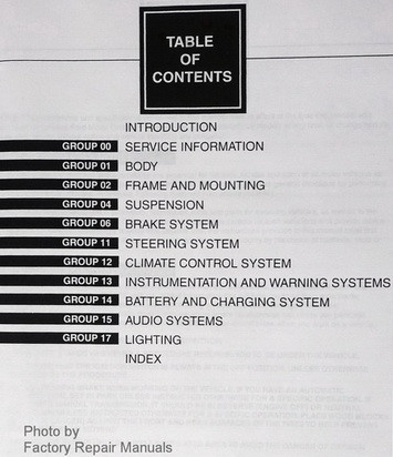 1997 Ford F-250 HD F-350 F Super Duty Service Manual Table of Contents 2
