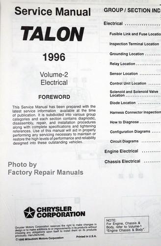 1996 eagle talon factory service manual set original chrysler shop rh factoryrepairmanuals com Auto Repair Manual Motorcycle Manual