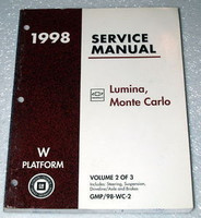 1998 CHEVY MONTE CARLO LS Z34 LUMINA LTZShop Service Repair Manual Vol 2 Chassis