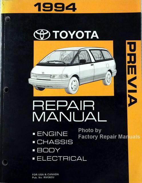 1994 toyota previa mini van factory service manual original shop rh factoryrepairmanuals com Toyota Factory Repair Manuals Auto 2002 Toyota Camry