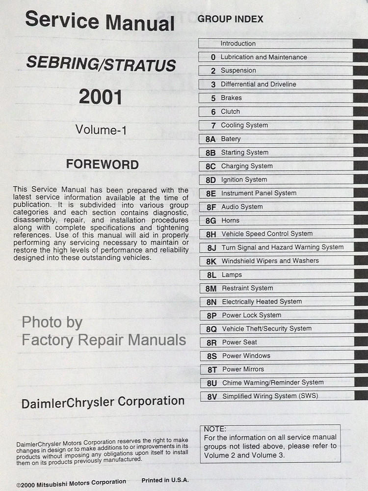 2001 chrysler sebring coupe dodge stratus coupe factory shop rh factoryrepairmanuals com Chrysler Stratus 1998 Chrysler Stratus 1994